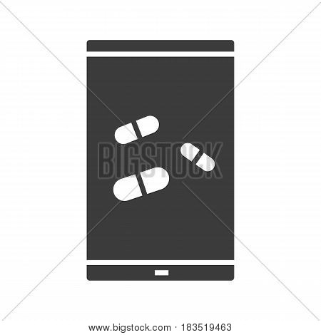 Smartphone medical app glyph icon. Mobile pharmacy store silhouette symbol. Smart phone with pills. Negative space. Vector isolated illustration