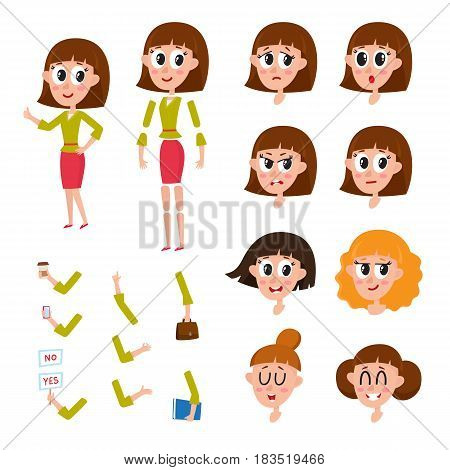 Woman, girl character creation set with different faces, hairs, emotions, cartoon vector illustration isolated on white background. Funny woman, girl creation set, constructor, animation ready