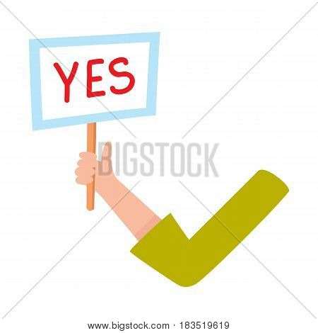 Female arm, hand in business suit sleeve holding yes sign, showing approval, confirmation, cartoon vector illustration on white background. Funny cartoon male arm showing yes sign, plate