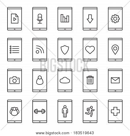 Smartphone apps linear icons set. Smartphone users, settings, gps, sms, cloud computing, media file, trash, medical and sport applications. Thin line contour symbols. Isolated vector illustrations