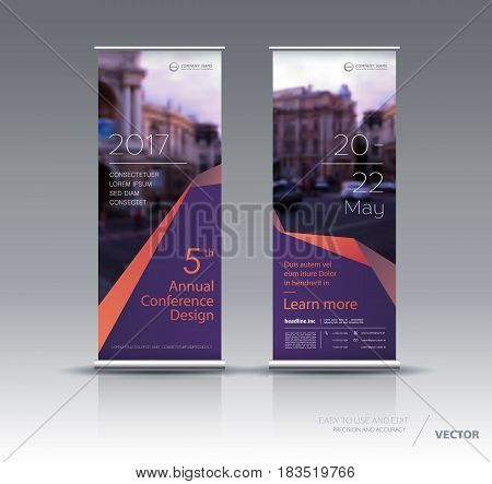Design of violet orange vertical banner. It can be used for roll up street banners, posters, signs, flags, brochures and leaflets. vector illustration.