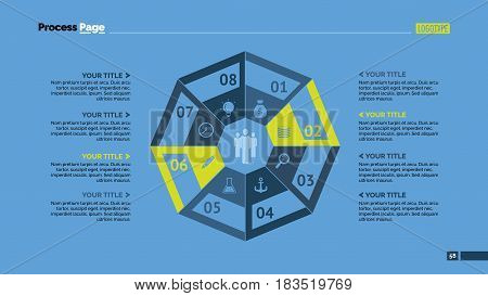 Eight octagon parts process chart slide template. Business data. Option, diagram, design. Creative concept for infographic, presentation. Can be used for topics like management, strategy, training.