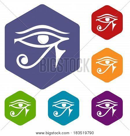 Eye of Horus Egypt Deity icons set hexagon isolated vector illustration