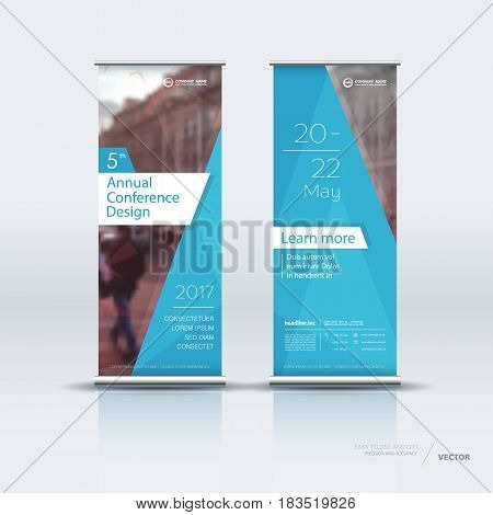 Design of blue white vertical banner. It can be used for roll up street banners, posters, signs, flags, brochures and leaflets. vector illustration.