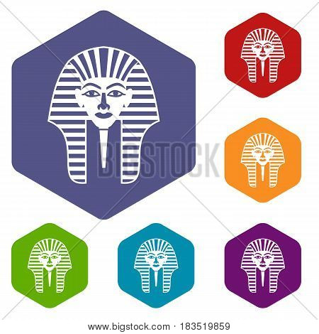Tutankhamen mask icons set hexagon isolated vector illustration