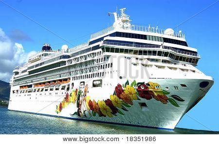 A cruise ship on the Hawaiian waters