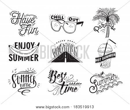 Vector set of hand drawn lettering with inscriptions Enjoy, hello summer, paradise, hot summer, chill out, have fun, enjoy your vacation, best time. Typographic collection with illustrations