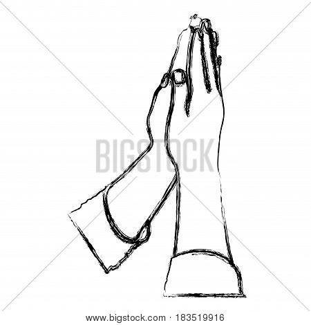 monochrome sketch of hands in position of pray in frontal view vector illustration
