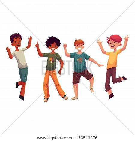 Black and Caucasian boys, kids having fun, dancing at party, cartoon vector illustration isolated on white background. Happy boys dancing, jumping at a kids, birthday party, having fun