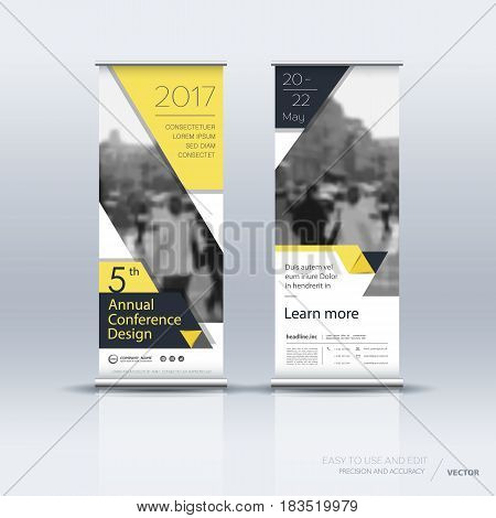 Design of yellow vertical banner. It can be used for roll up street banners, posters, signs, flags, brochures and leaflets. vector illustration.