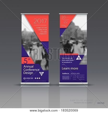 Design of the violet red vertical banner. It can be used for roll up street banners, posters, signs, flags, brochures and leaflets. vector illustration.