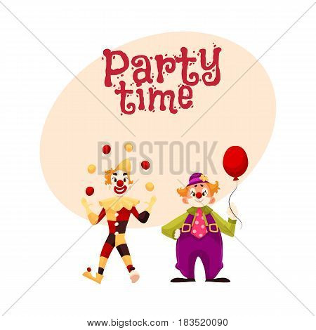 Two cheerful clown on a holiday, vector cartoon style invitation, banner, poster, greeting card design. funny cartoon clown shows tricks, funny comic clown holding balloon, funny faces