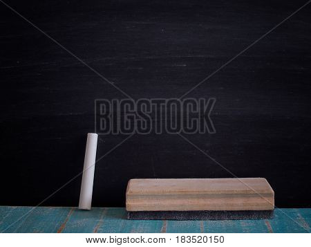 Chalk rubbed out and brush delete board on blackboard background texture for abstract design.