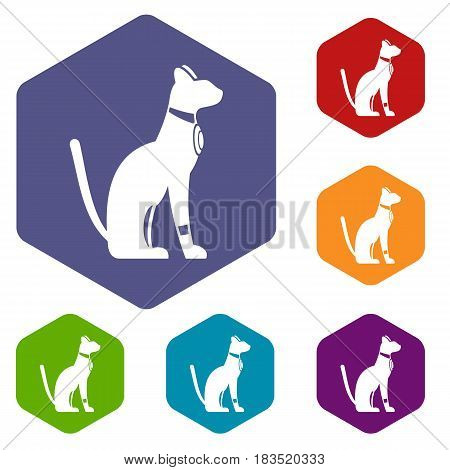 Egyptian cat icons set hexagon isolated vector illustration