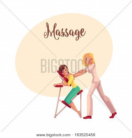 Young woman having office massage in mobile chair, cartoon vector illustration with space for text. Professional chair massage therapist doing therapeutic and relaxation office massage