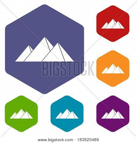 Pyramids in Giza icons set hexagon isolated vector illustration