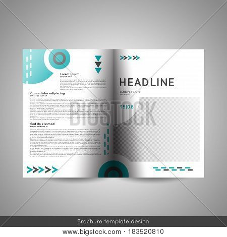 Bi fold business or educational brochure template design. Stock vector.