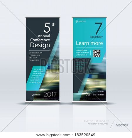 Design of vertical banner. It can be used for roll up street banners, posters, signs, flags, brochures and leaflets. vector illustration.