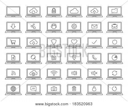 Laptops linear icons set. Laptops with wifi connection, cloud computing, users, protection, document, folder, settings pictograms. Thin line contour symbols. Isolated vector illustrations