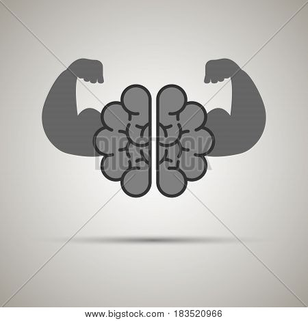 strong brain isolated on background. Vector illustration. Eps 10.