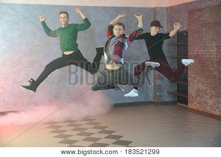 Young hip-hop dancers in studio
