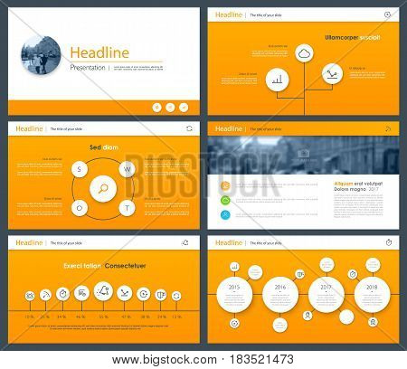 Orange Elements for Presentation templates. Use in presentation, flyer and leaflet, corporate report, marketing, advertising, annual report, banner