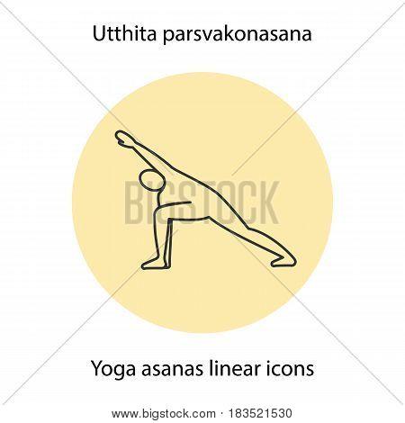Utthita parsvakonasana yoga position. Linear icon. Thin line illustration. Yoga asana contour symbol. Vector isolated outline drawing