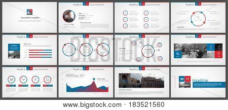 Blue red Elements for Presentation templates on a dark background. Use in presentation, flyer and leaflet, corporate report, marketing, advertising, annual report, banner