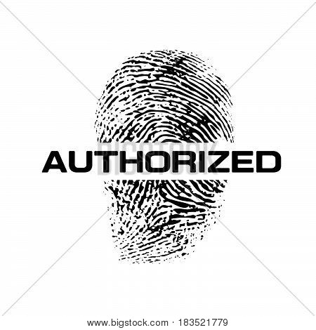 Authorize text with finger print isolated on white background vector eps10