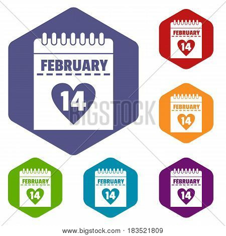 Valentines day calendar icons set hexagon isolated vector illustration