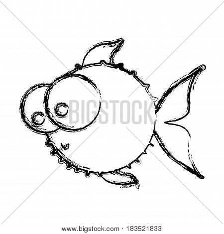 monochrome sketch of blowfish with big eyes vector illustration