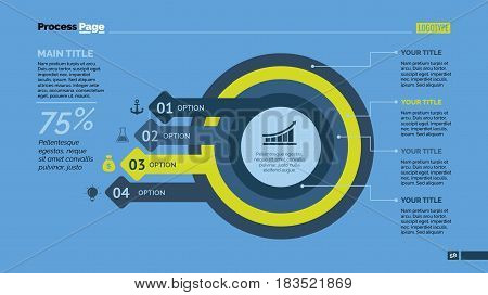 Four options process chart. Business data. Plan, diagram, design. Creative concept for infographic, templates, presentation, report. Can be used for topics like planning, management, teamwork.