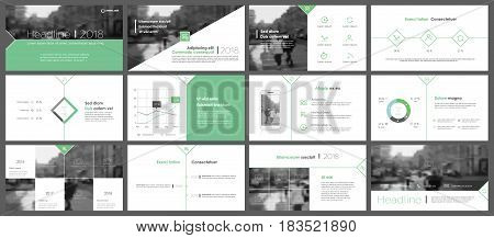 Green Elements for Presentation templates. Use in presentation, flyer and leaflet, corporate report, marketing, advertising, annual report, banner