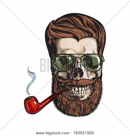 Human skull with red hipster beard, wearing aviator sunglasses, smoking pipe, sketch vector illustration isolated on white background. Hand drawing of human skull with hipster hair, beard and whiskers