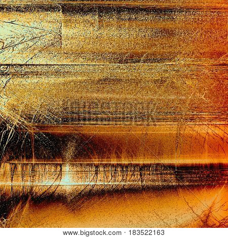 Retro style abstract background, aged graphic texture with different color patterns: yellow (beige); brown; red (orange); black; white
