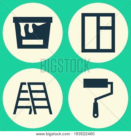 Industry Icons Set. Collection Of Glass Frame, Paint Bucket, Stair And Other Elements. Also Includes Symbols Such As Stair, Window, Can.