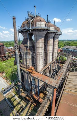 Abandoned buildings of Thyssen blast furnace plant at Duisburg Germany. Now Road of Industrial Heritage