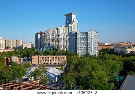The Sokolniki district, as seen from the Ferris wheel of the amusement park Sokolniki. Moscow, Russia