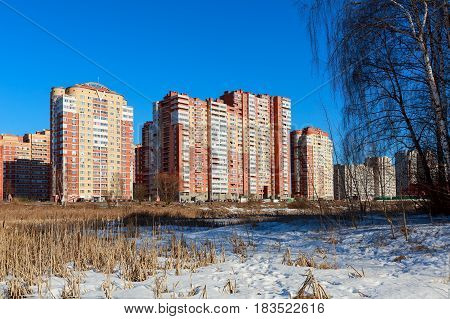 A new residential district on the banks of the river Pekhorka. City Balashikha, Moscow region, Russia.