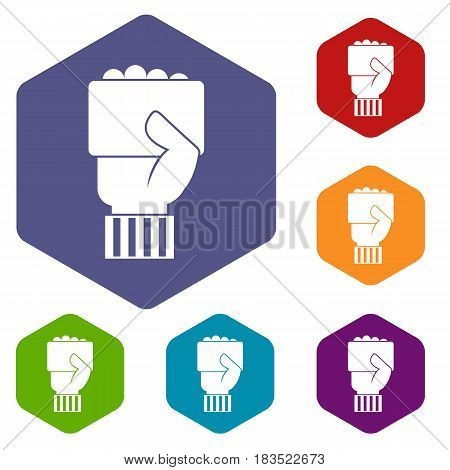 Hand of soccer referee showing card icons set hexagon isolated vector illustration