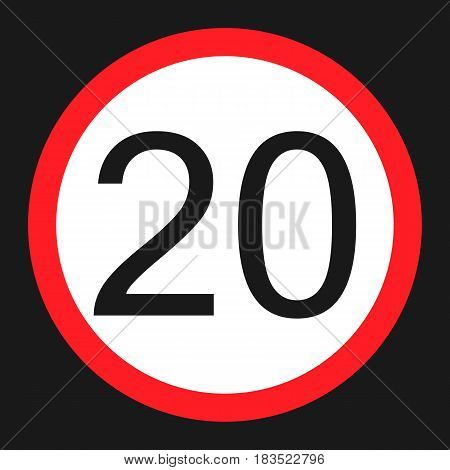 Maximum speed limit 20 flat icon Traffic and road sign vector graphics a solid pattern on a black background eps 10.