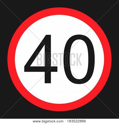 Maximum speed limit 40 flat icon Traffic and road sign vector graphics a solid pattern on a black background eps 10.