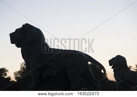 Madrid (Spain): the Park of Buen Retiro at evening. Palace statues of lions