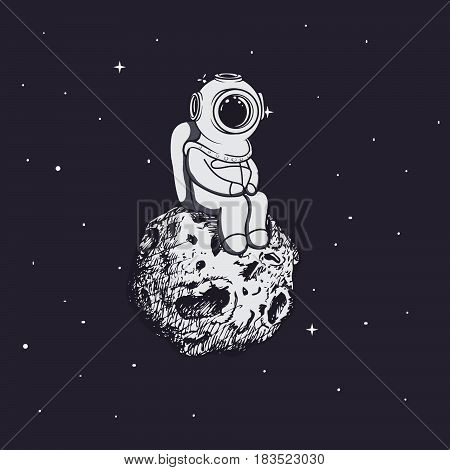 Diver like a astronaut sits on asteroid .Childish vector illustration.