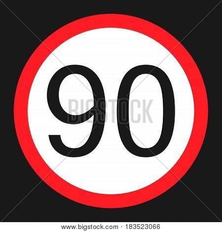 Maximum speed limit 90 flat icon Traffic and road sign vector graphics a solid pattern on a black background eps 10.