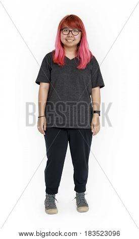 Pink Hair Woman Face Smile Expression Studio Portrait