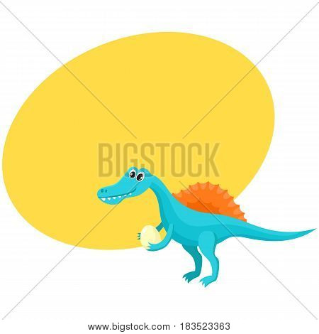 Cute and funny smiling baby spinosaurus, dinosaur, cartoon vector illustration with space for text. Funny, happy spinosaurus dinosaur character, decoration element