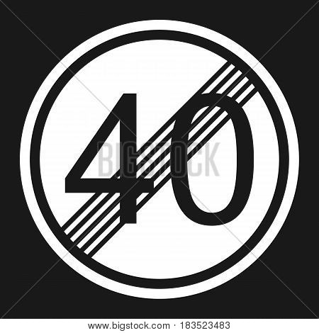 End maximum speed limit 40 sign flat icon Traffic and road sign vector graphics a solid pattern on a black background eps 10