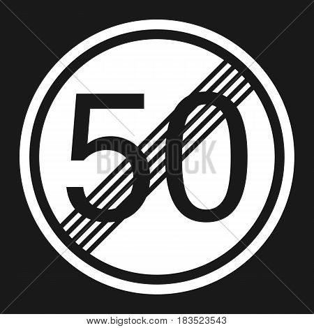 End maximum speed limit 50 sign flat icon Traffic and road sign vector graphics a solid pattern on a black background eps 10