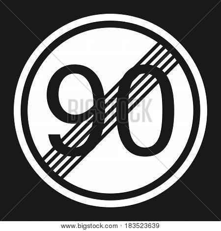 End maximum speed limit 90 sign flat icon Traffic and road sign vector graphics a solid pattern on a black background eps 10